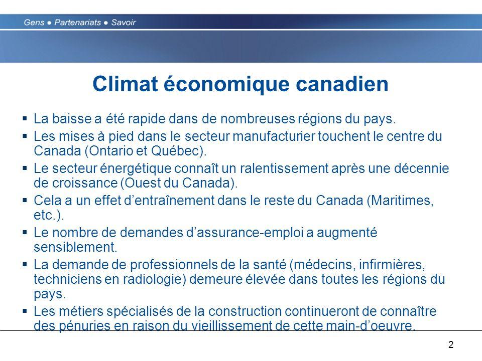 2 Climat économique canadien La baisse a été rapide dans de nombreuses régions du pays. Les mises à pied dans le secteur manufacturier touchent le cen