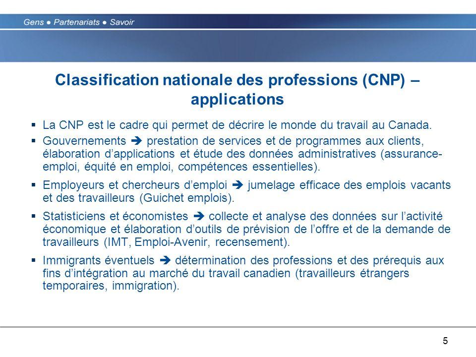 5 Classification nationale des professions (CNP) – applications La CNP est le cadre qui permet de décrire le monde du travail au Canada. Gouvernements