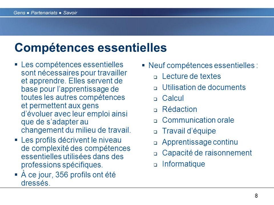 8 Compétences essentielles Les compétences essentielles sont nécessaires pour travailler et apprendre. Elles servent de base pour lapprentissage de to