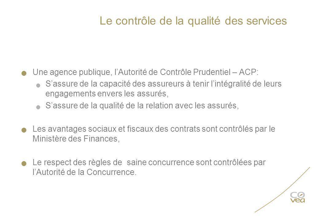 Le contrôle de la qualité des services Une agence publique, lAutorité de Contrôle Prudentiel – ACP: Sassure de la capacité des assureurs à tenir linté