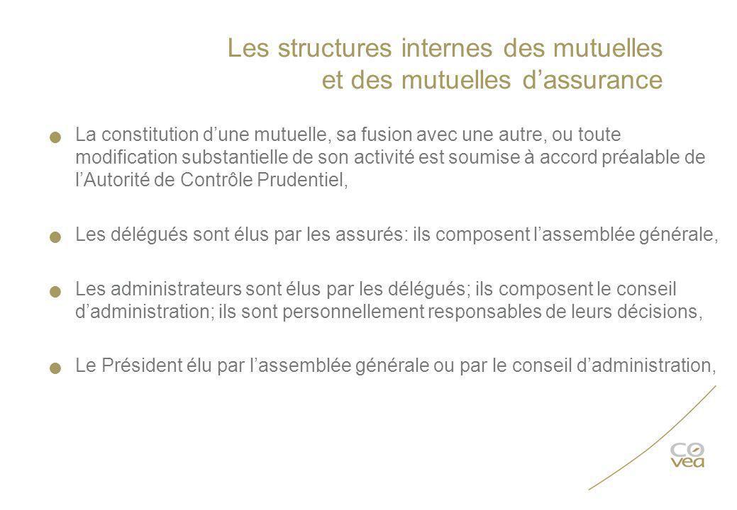 Les structures internes des mutuelles et des mutuelles dassurance La constitution dune mutuelle, sa fusion avec une autre, ou toute modification subst