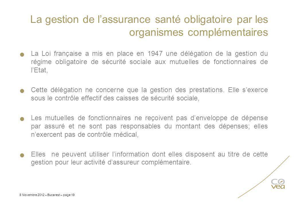 La gestion de lassurance santé obligatoire par les organismes complémentaires La Loi française a mis en place en 1947 une délégation de la gestion du