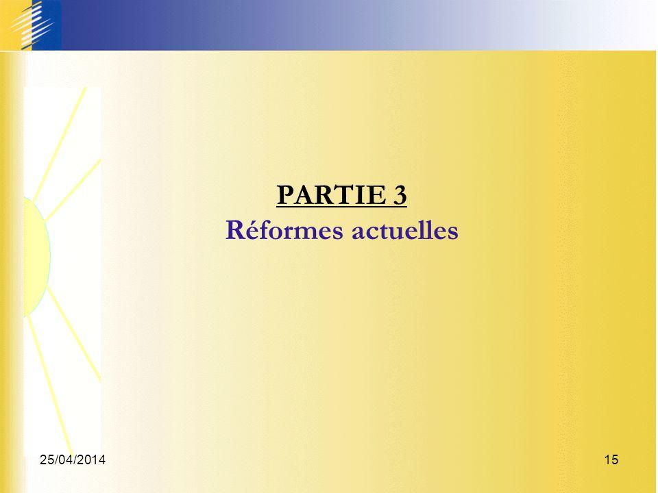 25/04/201415 PARTIE 3 Réformes actuelles