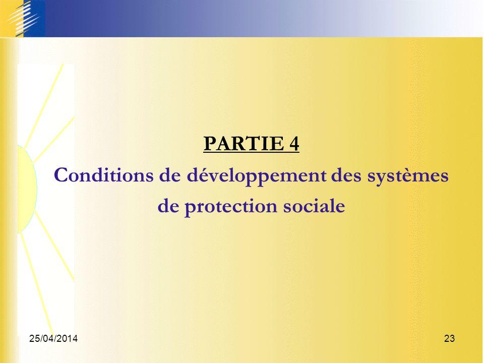 25/04/201423 PARTIE 4 Conditions de développement des systèmes de protection sociale