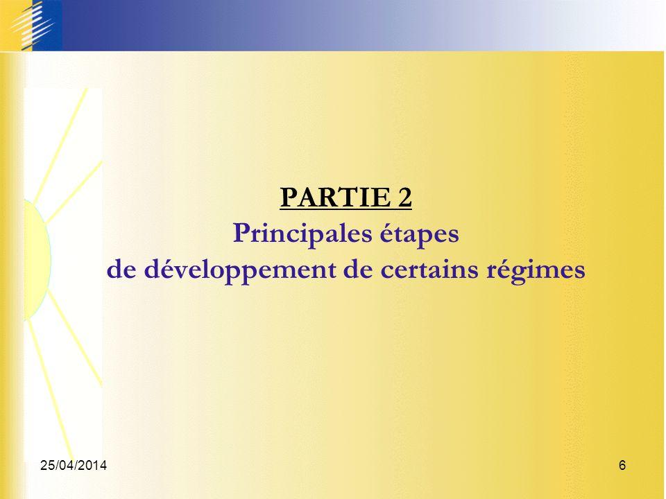 25/04/20146 PARTIE 2 Principales étapes de développement de certains régimes