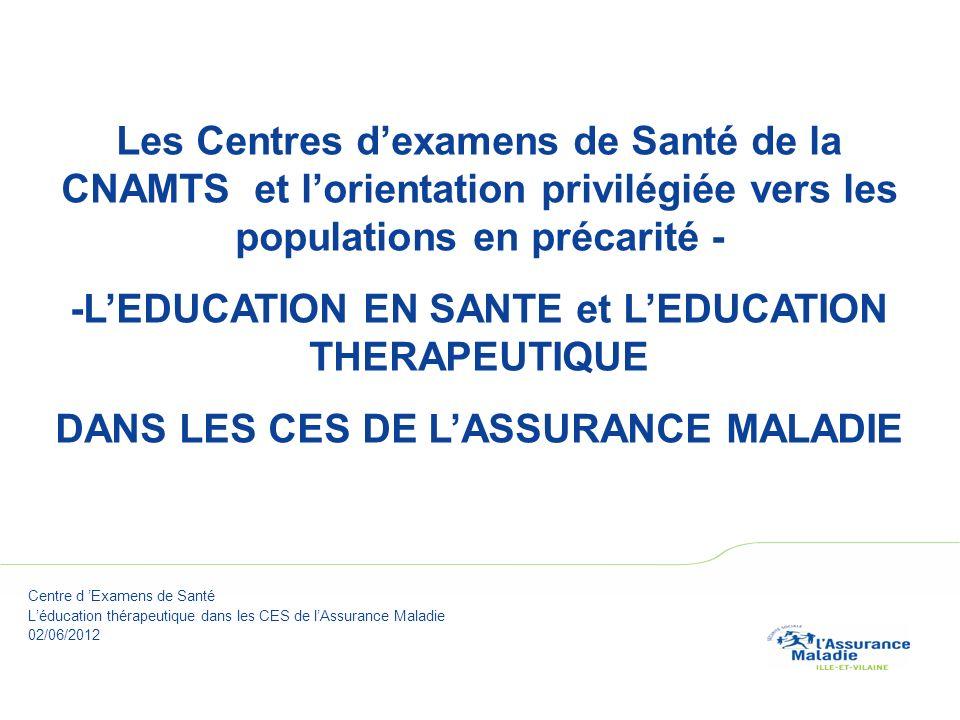 Couverture Les Centres dexamens de Santé de la CNAMTS et lorientation privilégiée vers les populations en précarité - -LEDUCATION EN SANTE et LEDUCATION THERAPEUTIQUE DANS LES CES DE LASSURANCE MALADIE Centre d Examens de Santé Léducation thérapeutique dans les CES de lAssurance Maladie 02/06/2012