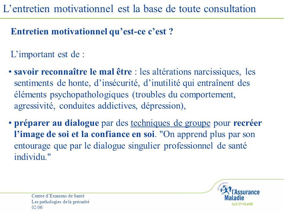 Lentretien motivationnel est la base de toute consultation Centre dExamens de Santé Les pathologies de la précarité 02/06/ Entretien motivationnel quest-ce cest .