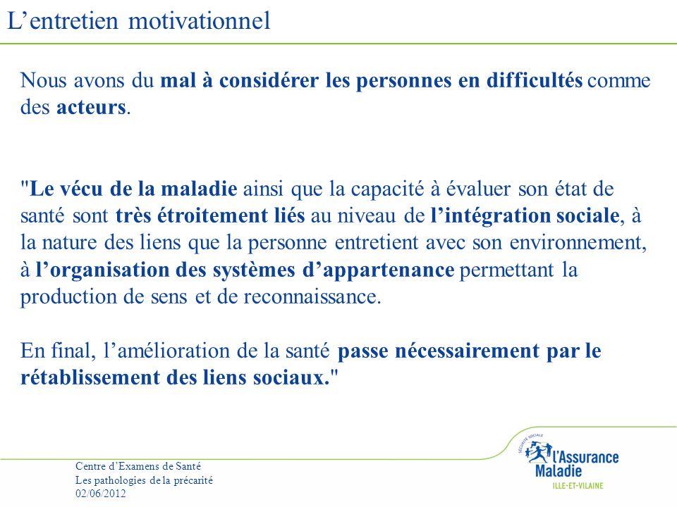 Lentretien motivationnel Centre dExamens de Santé Les pathologies de la précarité 02/06/2012 Nous avons du mal à considérer les personnes en difficultés comme des acteurs.