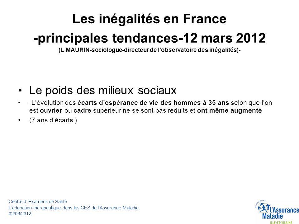 Les inégalités en France -principales tendances-12 mars 2012 (L MAURIN-sociologue-directeur de lobservatoire des inégalités)- La fracture culturelle -les enfants douvriers représentent 38% des élèves de sixième mais seulement 9% de ceux des écoles préparatoires (2002) -limpact du milieu social sur le score en lecture est très élévé en France.