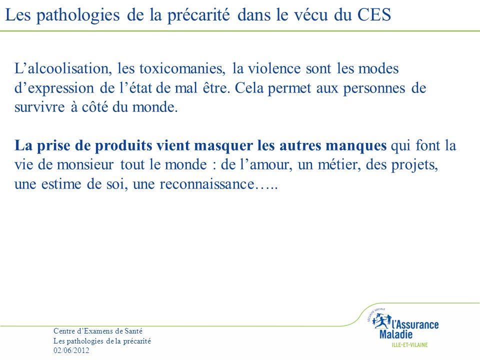 Les pathologies de la précarité dans le vécu du CES Centre dExamens de Santé Les pathologies de la précarité 02/06/2012 Recréer la relation de confiance.