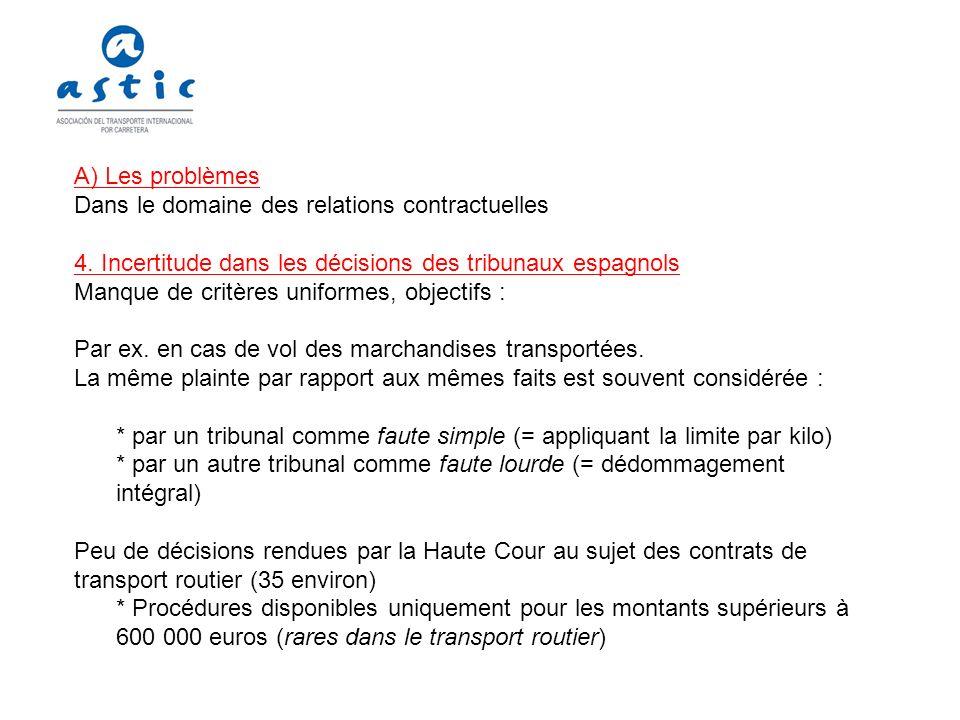 A) Les problèmes Dans le domaine des relations contractuelles 5.