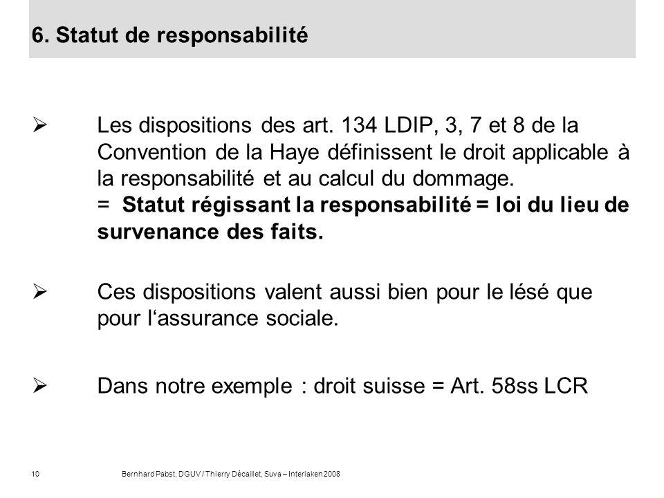 10Bernhard Pabst, DGUV / Thierry Décaillet, Suva – Interlaken 2008 6. Statut de responsabilité Les dispositions des art. 134 LDIP, 3, 7 et 8 de la Con