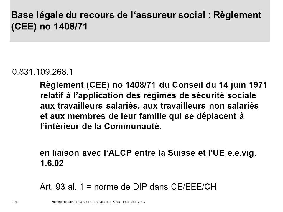 14Bernhard Pabst, DGUV / Thierry Décaillet, Suva – Interlaken 2008 Base légale du recours de lassureur social : Règlement (CEE) no 1408/71 0.831.109.2