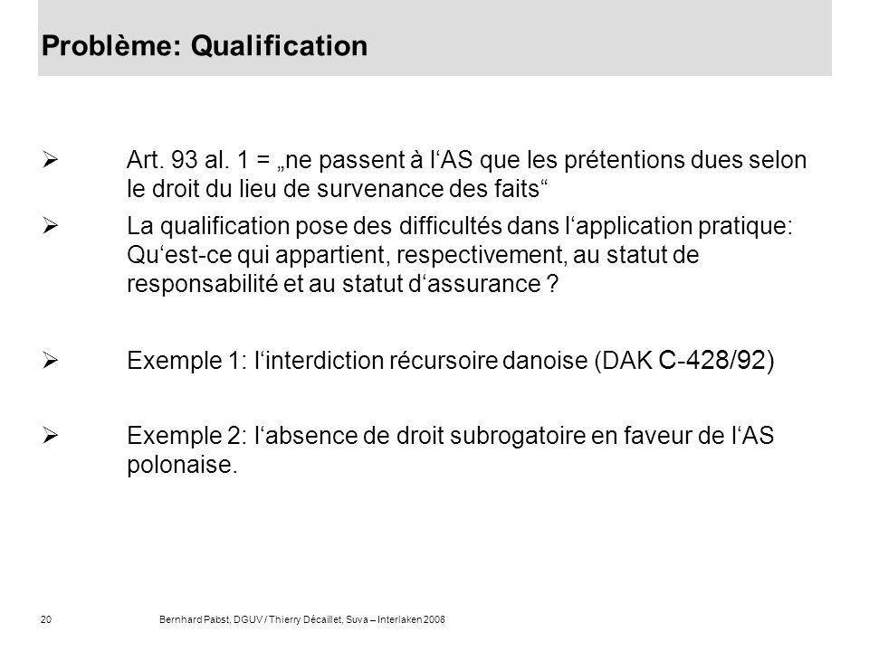 20Bernhard Pabst, DGUV / Thierry Décaillet, Suva – Interlaken 2008 Problème: Qualification Art. 93 al. 1 = ne passent à lAS que les prétentions dues s