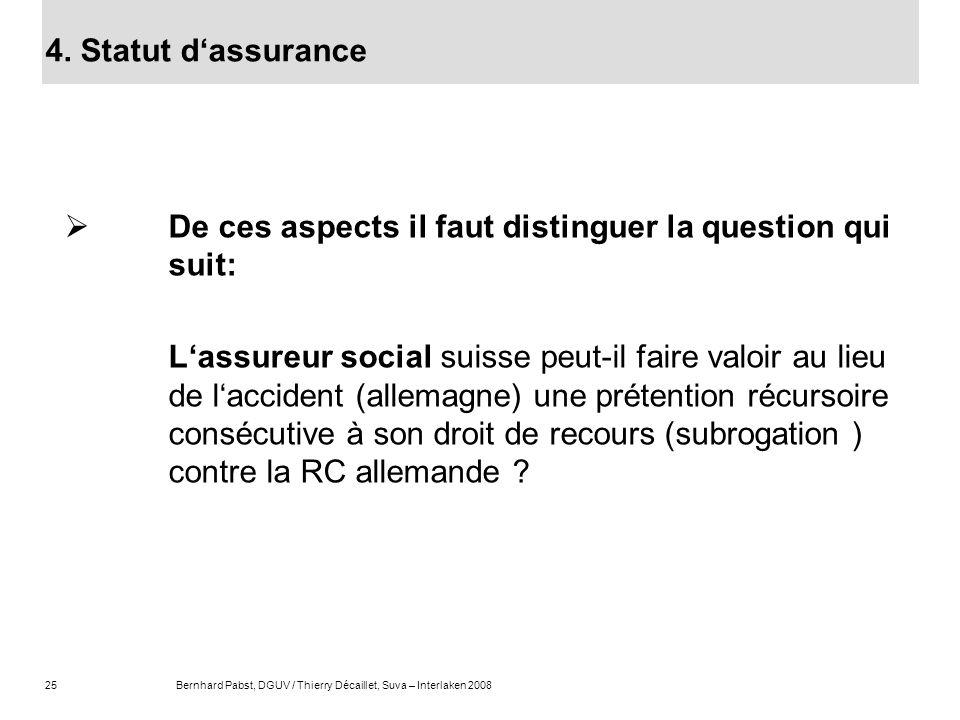 25Bernhard Pabst, DGUV / Thierry Décaillet, Suva – Interlaken 2008 De ces aspects il faut distinguer la question qui suit: Lassureur social suisse peu