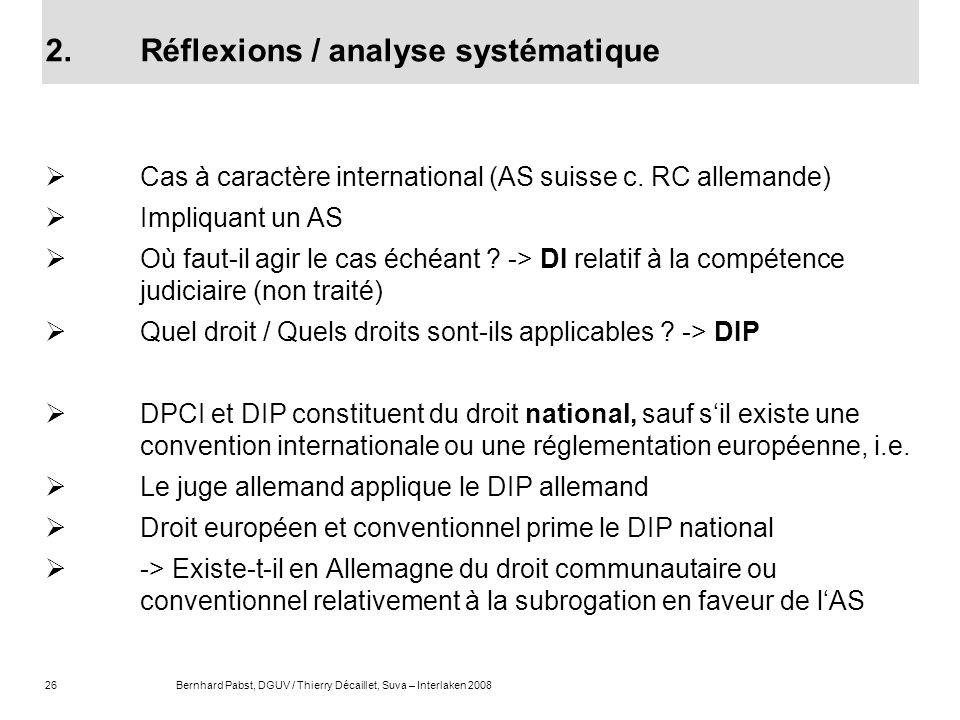 26Bernhard Pabst, DGUV / Thierry Décaillet, Suva – Interlaken 2008 2.Réflexions / analyse systématique Cas à caractère international (AS suisse c. RC