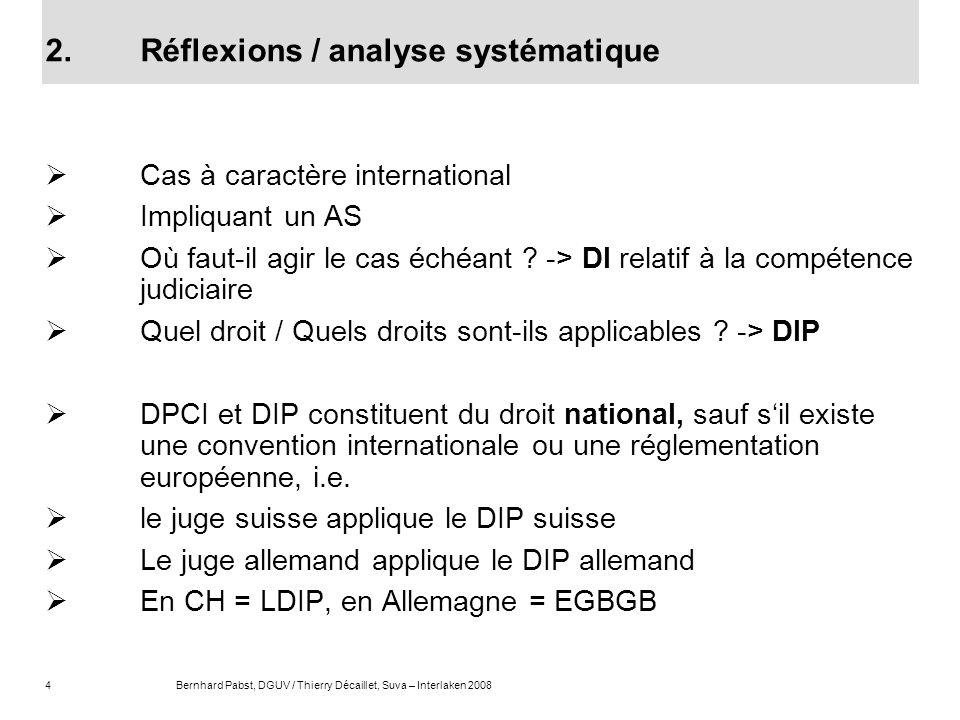 4Bernhard Pabst, DGUV / Thierry Décaillet, Suva – Interlaken 2008 2.Réflexions / analyse systématique Cas à caractère international Impliquant un AS O