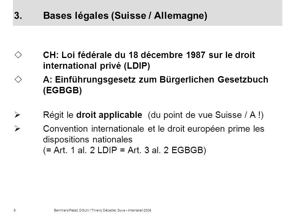 5Bernhard Pabst, DGUV / Thierry Décaillet, Suva – Interlaken 2008 3.Bases légales (Suisse / Allemagne) CH: Loi fédérale du 18 décembre 1987 sur le dro