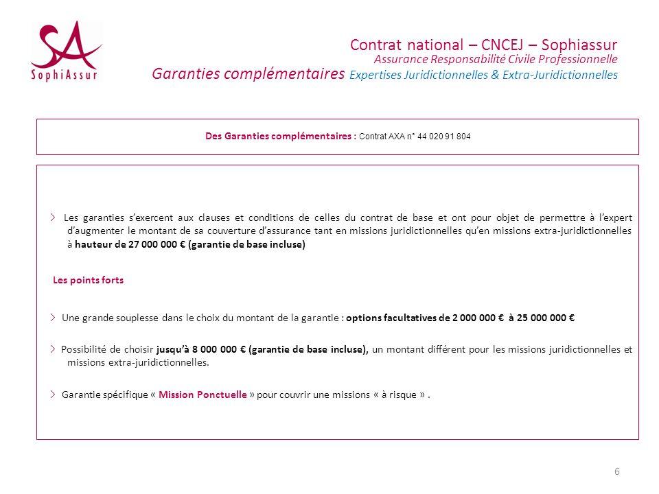 Contrat national – CNCEJ – Sophiassur Assurance Responsabilité Civile Professionnelle Garanties complémentaires Expertises Juridictionnelles & Extra-J