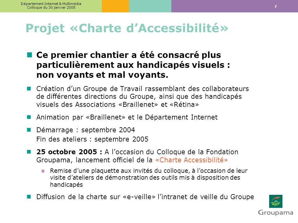 7 Département Internet & Multimédia Colloque du 30 janvier 2005 Projet «Charte dAccessibilité» nCe premier chantier a été consacré plus particulièrement aux handicapés visuels : non voyants et mal voyants.