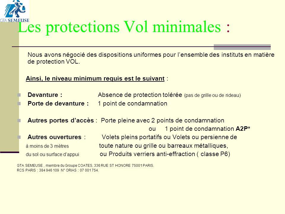 Les protections Vol minimales : Nous avons négocié des dispositions uniformes pour lensemble des instituts en matière de protection VOL.