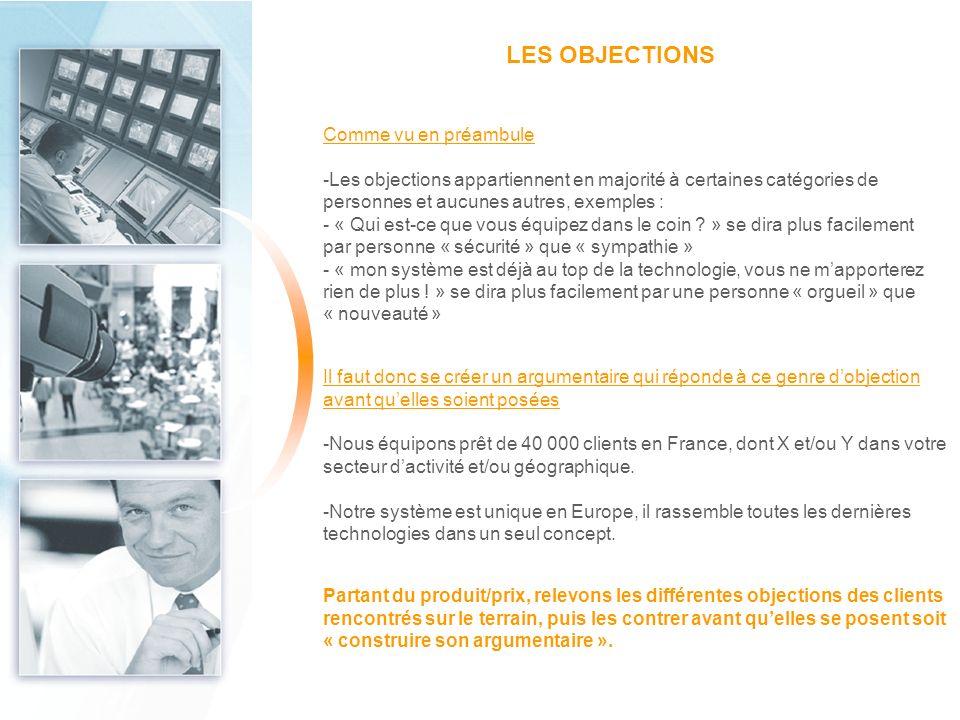 LES OBJECTIONS Comme vu en préambule -Les objections appartiennent en majorité à certaines catégories de personnes et aucunes autres, exemples : - « Q