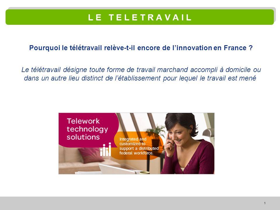 1 L E T E L E T R A V A I L Pourquoi le télétravail relève-t-il encore de linnovation en France ? Le télétravail désigne toute forme de travail marcha
