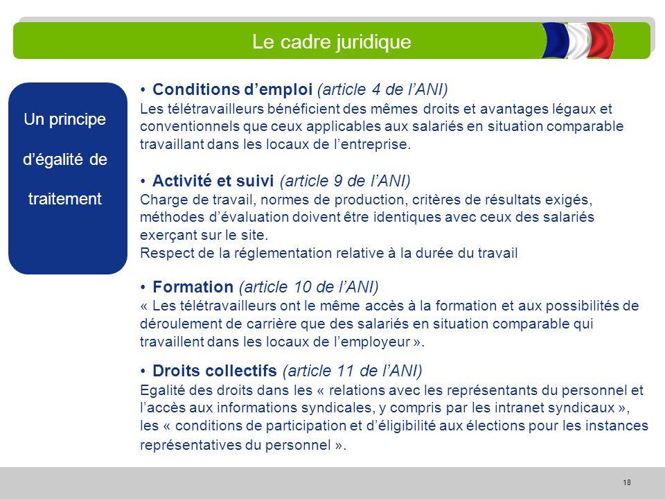 18 Le cadre juridique Un principe dégalité de traitement Conditions demploi (article 4 de lANI) Les télétravailleurs bénéficient des mêmes droits et a