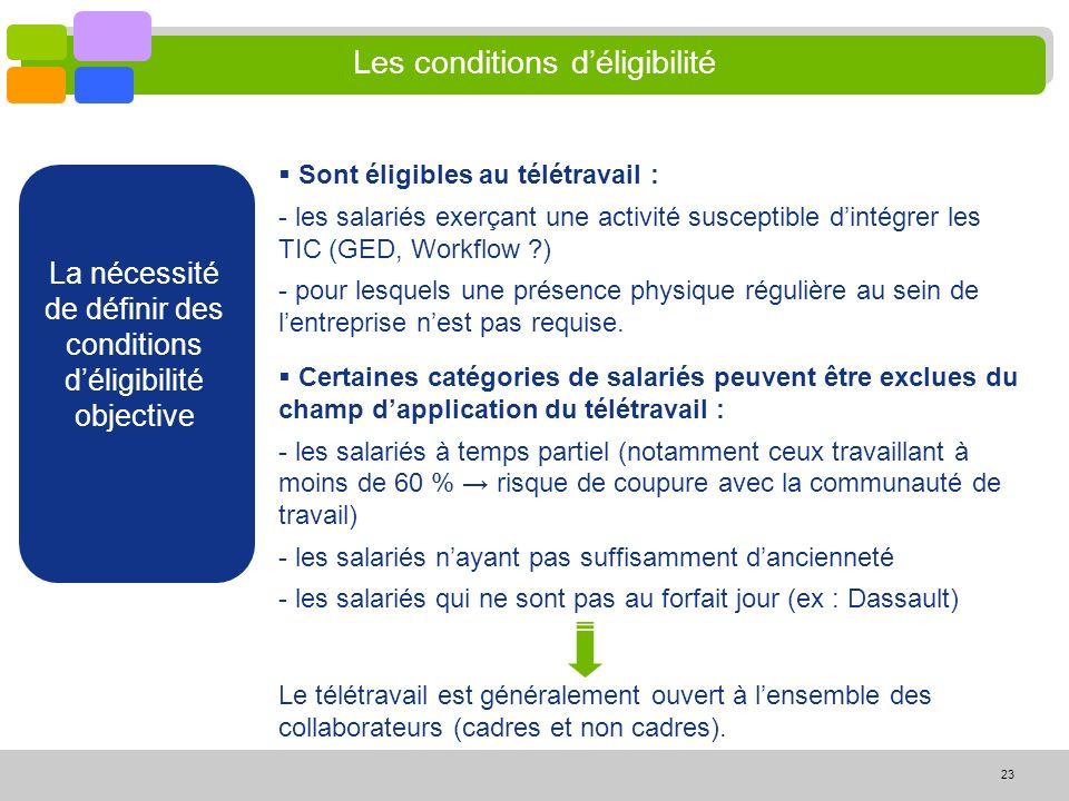 23 Les conditions déligibilité La nécessité de définir des conditions déligibilité objective Certaines catégories de salariés peuvent être exclues du