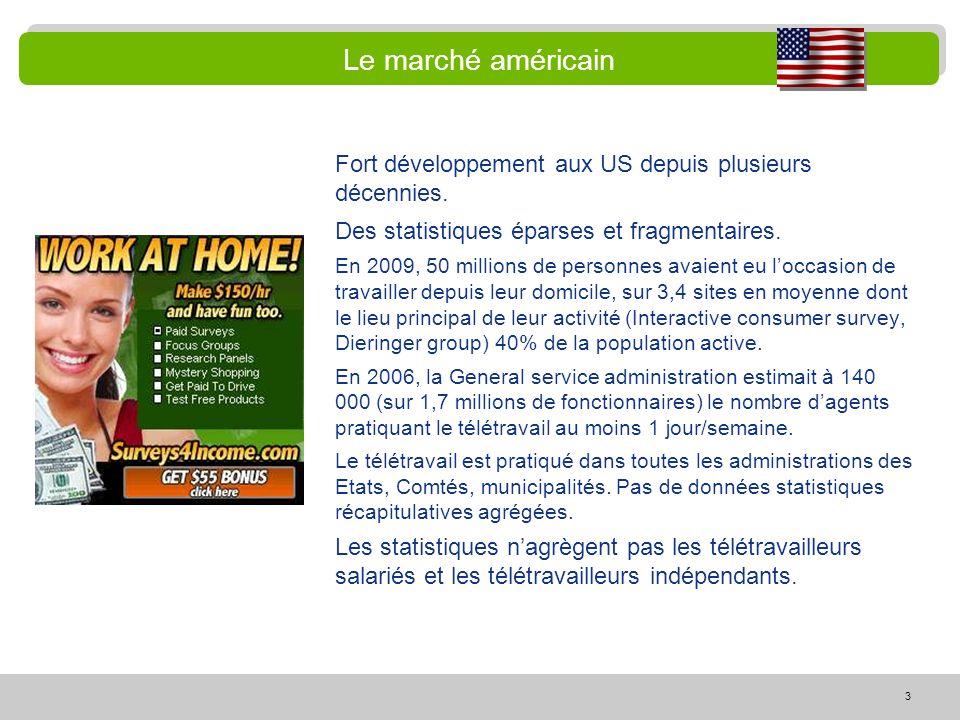 3 Le marché américain Fort développement aux US depuis plusieurs décennies. Des statistiques éparses et fragmentaires. En 2009, 50 millions de personn