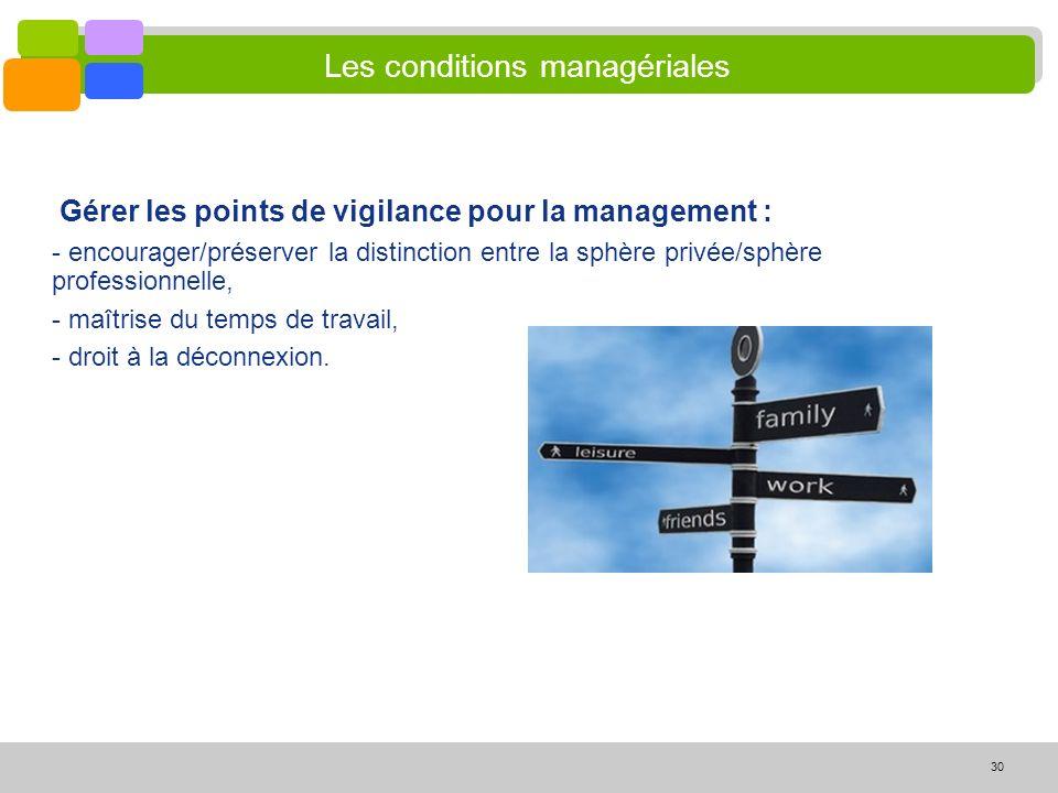30 Les conditions managériales Gérer les points de vigilance pour la management : - encourager/préserver la distinction entre la sphère privée/sphère