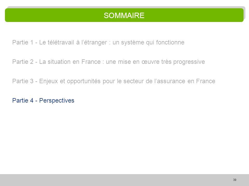 39 SOMMAIRE Partie 1 - Le télétravail à létranger : un système qui fonctionne Partie 2 - La situation en France : une mise en œuvre très progressive P