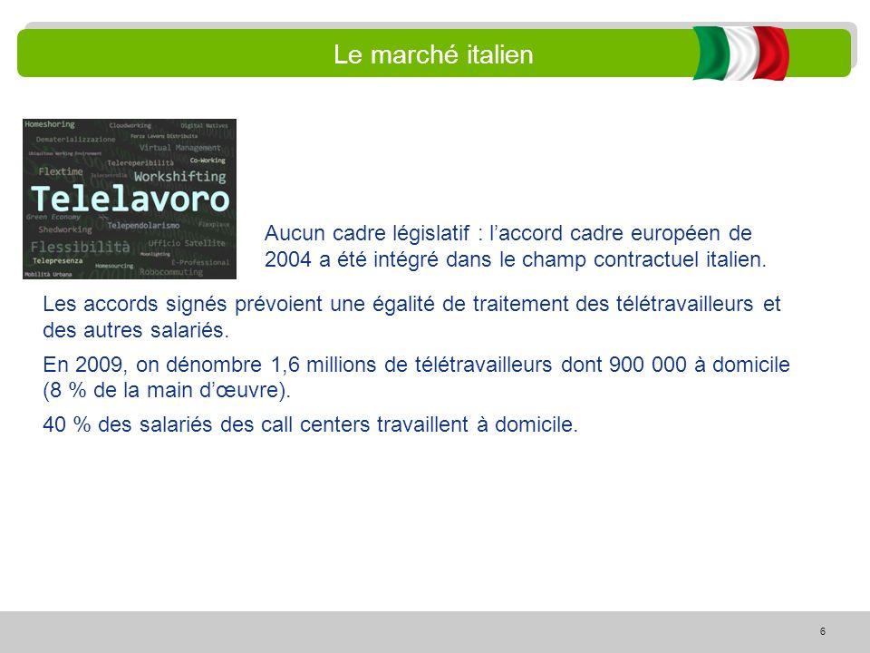 6 Le marché italien Les accords signés prévoient une égalité de traitement des télétravailleurs et des autres salariés. En 2009, on dénombre 1,6 milli