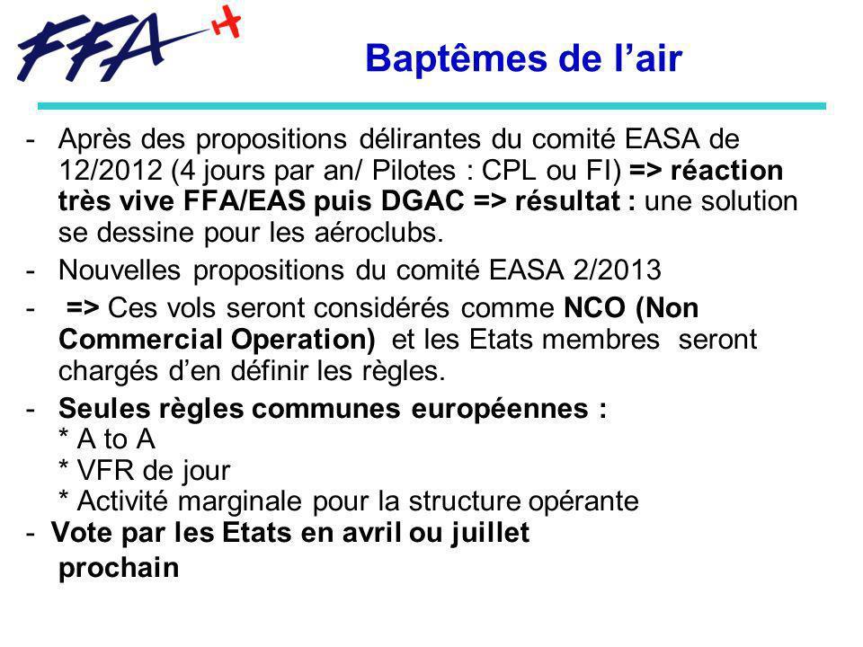 Baptêmes de lair -Après des propositions délirantes du comité EASA de 12/2012 (4 jours par an/ Pilotes : CPL ou FI) => réaction très vive FFA/EAS puis DGAC => résultat : une solution se dessine pour les aéroclubs.