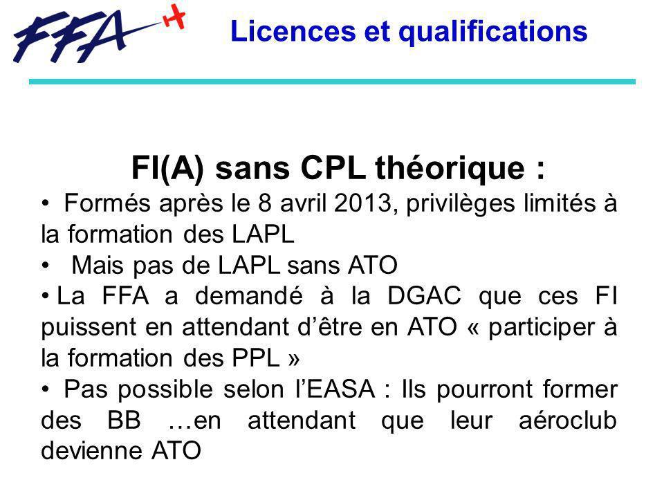 FI(A) sans CPL théorique : Formés après le 8 avril 2013, privilèges limités à la formation des LAPL Mais pas de LAPL sans ATO La FFA a demandé à la DG