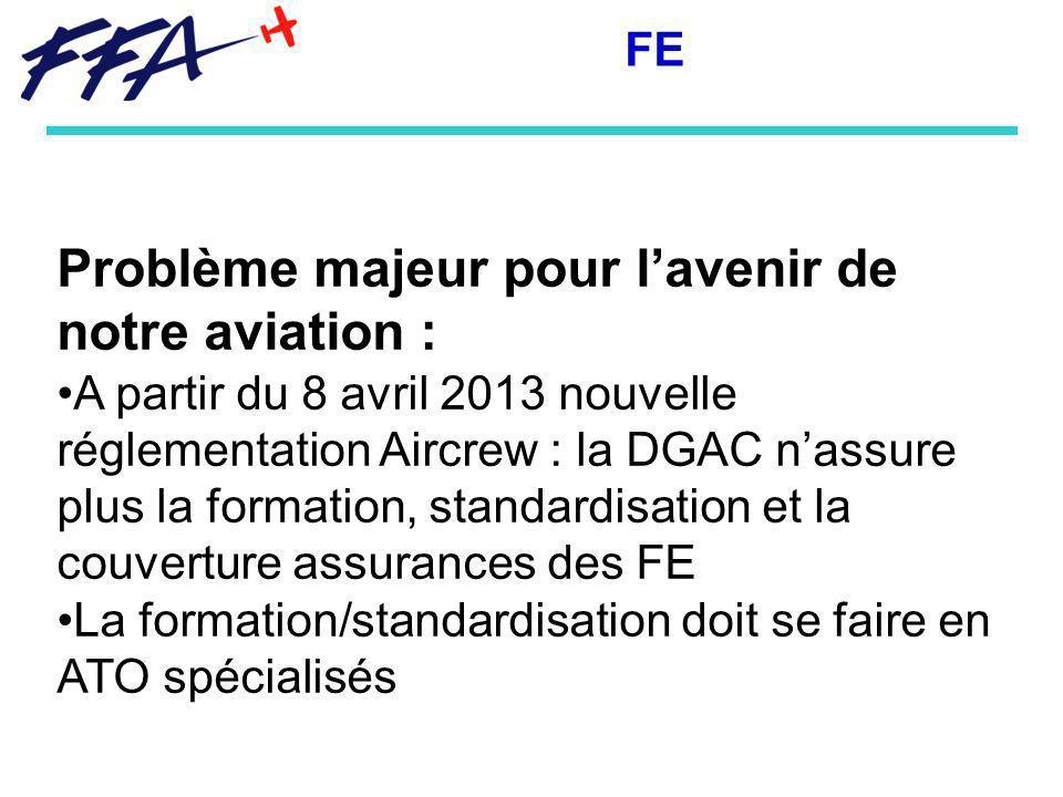 Problème majeur pour lavenir de notre aviation : A partir du 8 avril 2013 nouvelle réglementation Aircrew : la DGAC nassure plus la formation, standardisation et la couverture assurances des FE La formation/standardisation doit se faire en ATO spécialisés FE