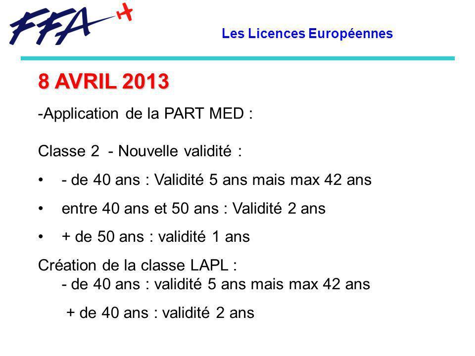 Les Licences Européennes 8 AVRIL 2013 -Application de la PART MED : Classe 2 - Nouvelle validité : - de 40 ans : Validité 5 ans mais max 42 ans entre 40 ans et 50 ans : Validité 2 ans + de 50 ans : validité 1 ans Création de la classe LAPL : - de 40 ans : validité 5 ans mais max 42 ans + de 40 ans : validité 2 ans
