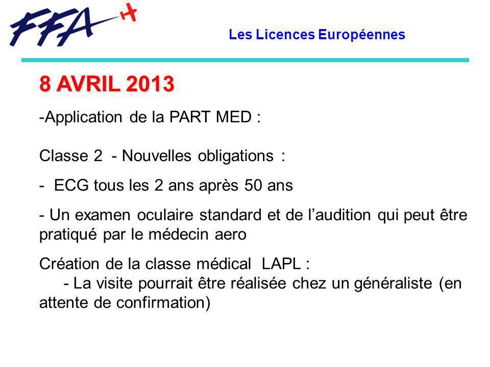 Les Licences Européennes 8 AVRIL 2013 -Application de la PART MED : Classe 2 - Nouvelles obligations : - ECG tous les 2 ans après 50 ans - Un examen o
