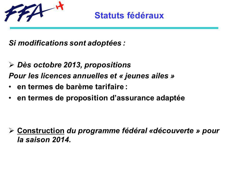 Si modifications sont adoptées : Dès octobre 2013, propositions Pour les licences annuelles et « jeunes ailes » en termes de barème tarifaire : en termes de proposition dassurance adaptée Construction du programme fédéral «découverte » pour la saison 2014.