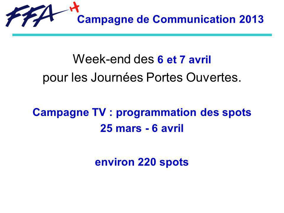Week-end des 6 et 7 avril pour les Journées Portes Ouvertes. Campagne TV : programmation des spots 25 mars - 6 avril environ 220 spots Campagne de Com