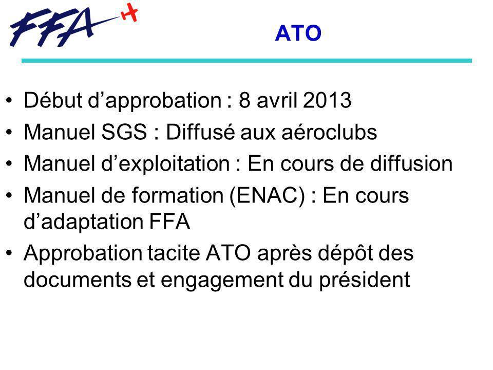 ATO Début dapprobation : 8 avril 2013 Manuel SGS : Diffusé aux aéroclubs Manuel dexploitation : En cours de diffusion Manuel de formation (ENAC) : En