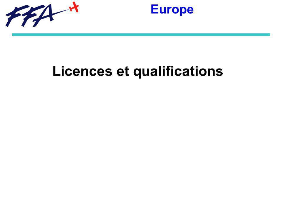 Licences et qualifications Europe