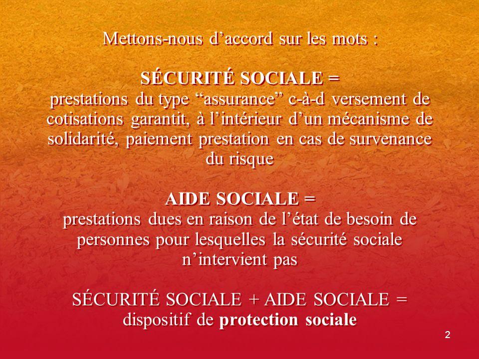 2 Mettons-nous daccord sur les mots : SÉCURITÉ SOCIALE = prestations du type assurance c-à-d versement de cotisations garantit, à lintérieur dun mécan