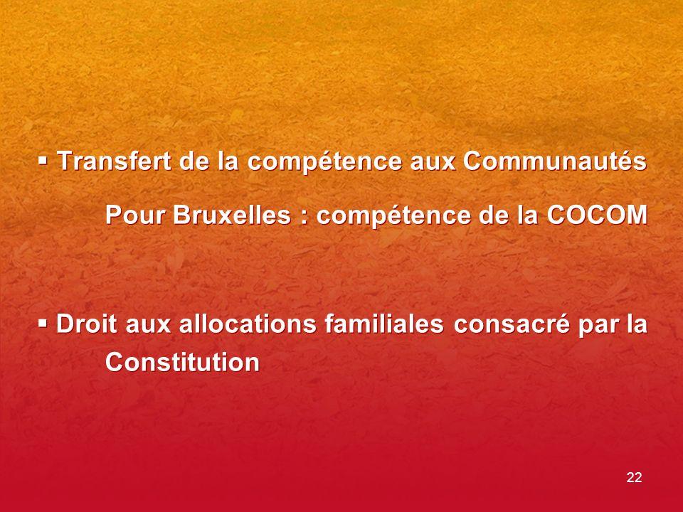 22 Transfert de la compétence aux Communautés Pour Bruxelles : compétence de la COCOM Droit aux allocations familiales consacré par la Constitution Transfert de la compétence aux Communautés Pour Bruxelles : compétence de la COCOM Droit aux allocations familiales consacré par la Constitution