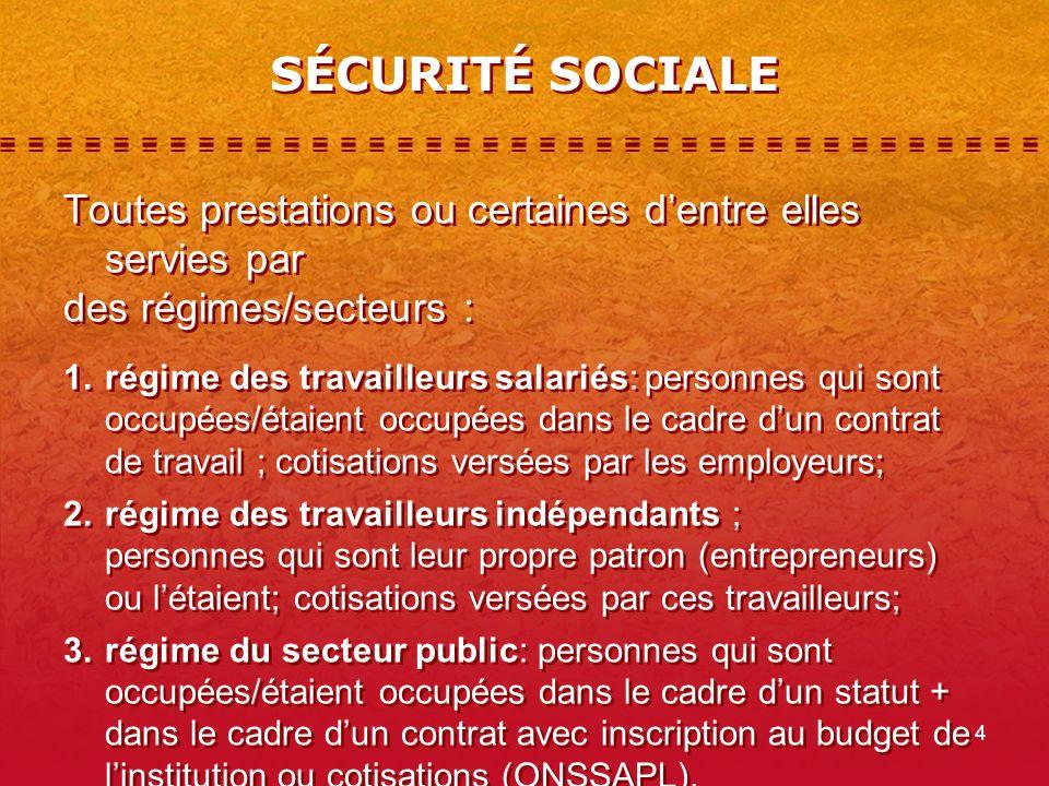 4 SÉCURITÉ SOCIALE Toutes prestations ou certaines dentre elles servies par des régimes/secteurs : 1.régime des travailleurs salariés: personnes qui s