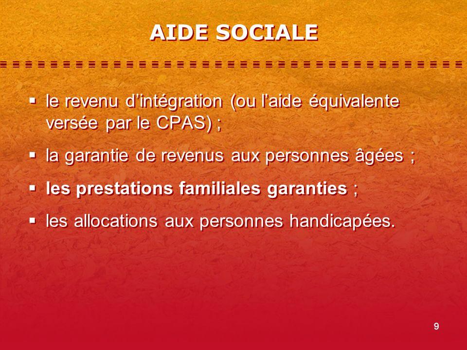 9 AIDE SOCIALE le revenu dintégration (ou laide équivalente versée par le CPAS) ; la garantie de revenus aux personnes âgées ; les prestations familiales garanties ; les allocations aux personnes handicapées.