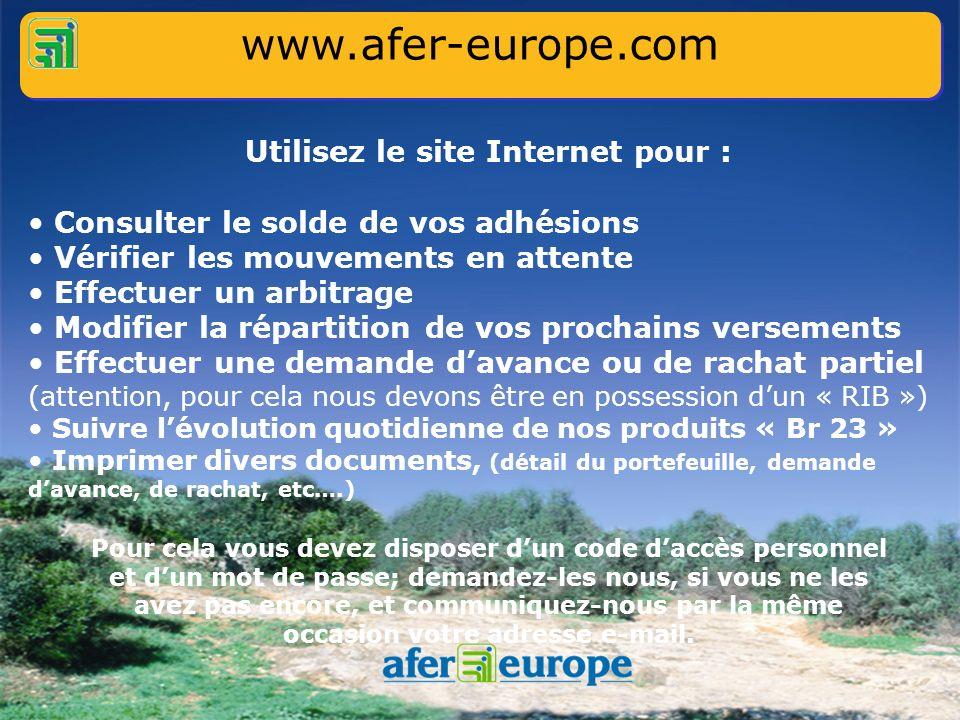 Utilisez le site Internet www.afer-europe.com