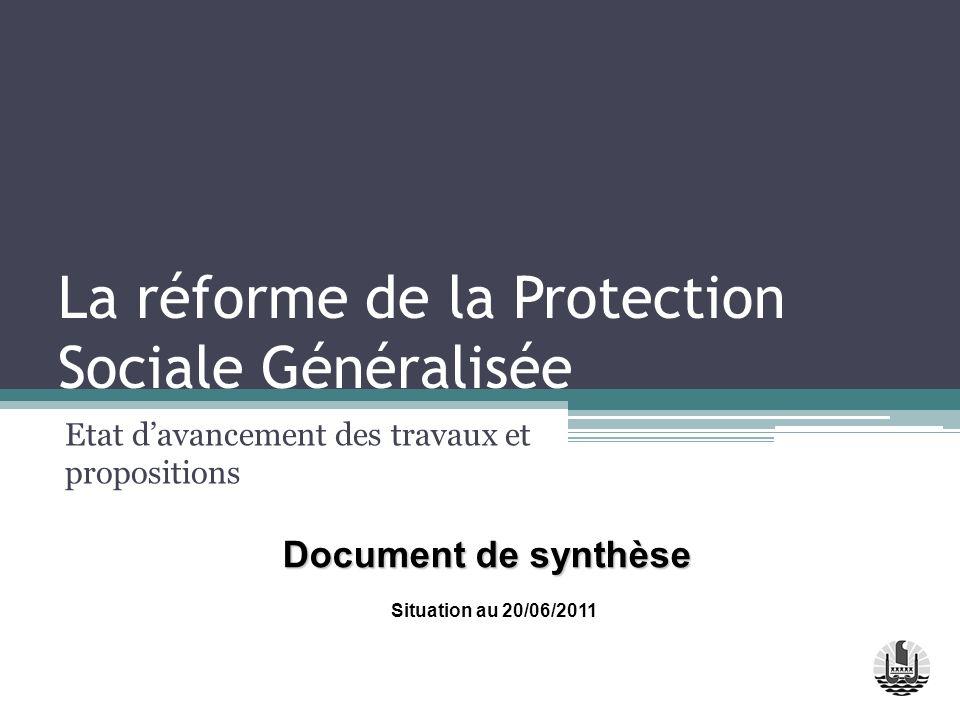 La réforme de la Protection Sociale Généralisée Etat davancement des travaux et propositions Situation au 20/06/2011 Document de synthèse