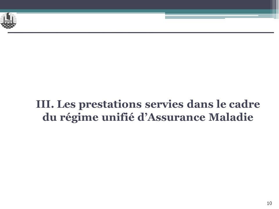 III. Les prestations servies dans le cadre du régime unifié dAssurance Maladie 10