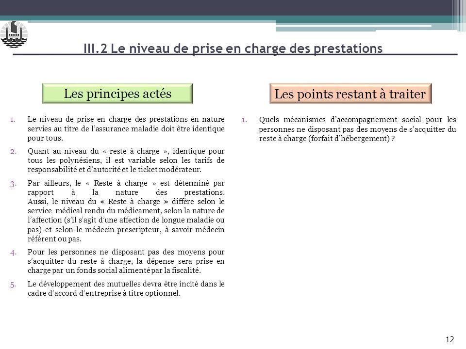 III.2 Le niveau de prise en charge des prestations Les principes actés Les points restant à traiter 1.Le niveau de prise en charge des prestations en